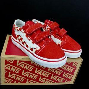 VANS Primary Check Racing Red Wht Old Skool V Kids